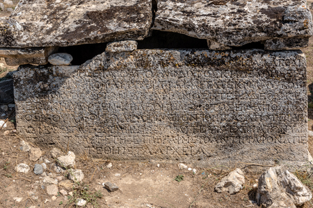 Ancient tombs at Hierapolis northern necropolis in Pamukkale, Turkey.