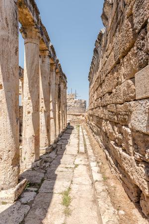 The Latrine (toilet) in the Frontinus street near Agora, Roman remains at Hierapolis, Pamukkale, Turkey.