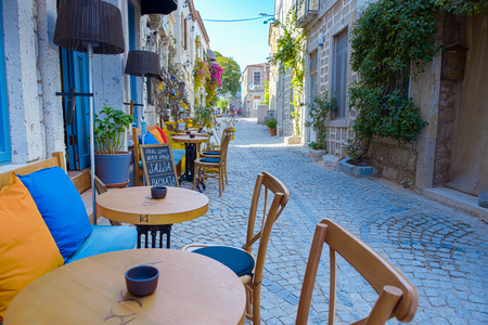 HDR Image-Street view of Alacati district of Cesme.Alacati is a popular destination for traveling and vacation in Izmir,Turkey.26 August 2017.