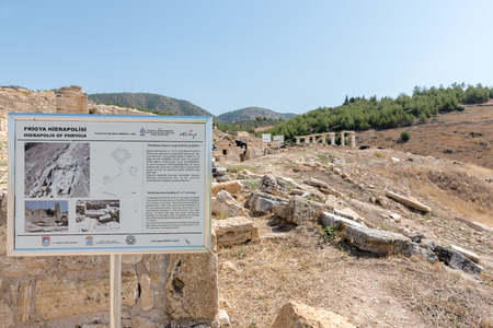 Sign about Tomb of St.Philip and Aghiasma (Sanctuary Fountain) in ancient Greek city Hierapolis, Pamukkale, Turkey.
