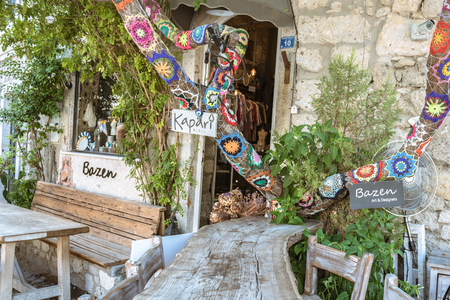 Street view of Alacati district of Cesme.Alacati is a popular destination for traveling and vacation in Izmir,Turkey.26 August 2017.