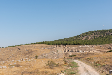 Panoramic high resolution view of Tomb of St.Philip and Aghiasma (Sanctuary Fountain) in ancient Greek city Hierapolis, Pamukkale, Turkey.