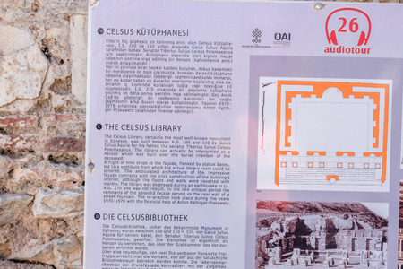 Information sign about ruins in Ephesus historical ancient city, in Selcuk,Izmir,Turkey:20 August 2017