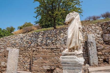 Marble  statue Ruins in Ephesus historical ancient city, in Selcuk,Izmir,Turkey.