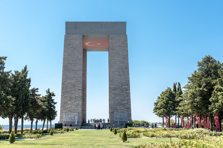 Canakkale Martyrs' Memorial is a war memorial commemorating the service of about Turkish soldiers who participated at the Battle of Gallipoli.TURKEY, Canakkale,18 August 2017