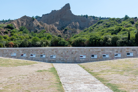 Stone memorial on the beach at Anzac Cove in Gallipoli where allied troops fought in World War 1 in Canakkale Turkey