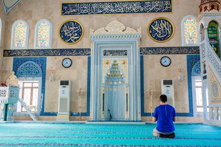 Unidentified man prays at Center Isabey Mosque in Bursa,Turkey.20 May 2018