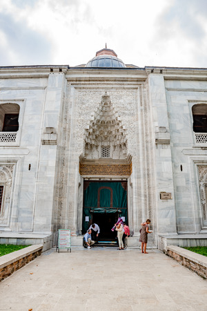 People visit Green Mosque also known as Mosque of Mehmed I is a part of the larger complex in Bursa,Turkey.20 May 2018
