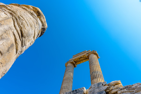 View of gorgeous marble column pillars at Temple of Apollo at Archeological area of Didim, Didyma, Aydin Province, Turkey, Europe.