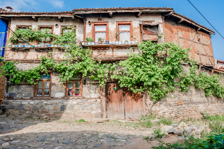 View of historical house at Cumalikizik village,a popular destination for Tourists and locals in Bursa,Turkey.20 May 2018