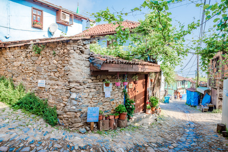View of historical Cumalikizik village,a popular destination for Tourists and locals in Bursa,Turkey.20 May 2018