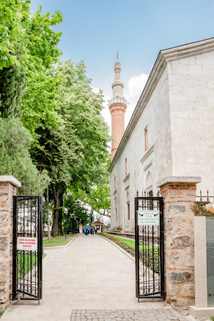 Exterior view of Green Mosque also known as Mosque of Mehmed I is a part of the larger complex in Bursa,Turkey.20 May 2018