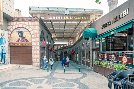 Entrance of  famous Tarihi Ulu Carsi(Historical Grand Bazaar) in Bursa,Turkey.20 May 2018 Sajtókép