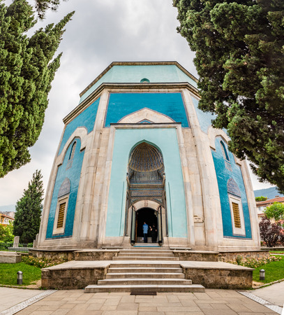 Exterior view of Green Tomb that is a part of the larger complex in Bursa,Turkey.20 May 2018
