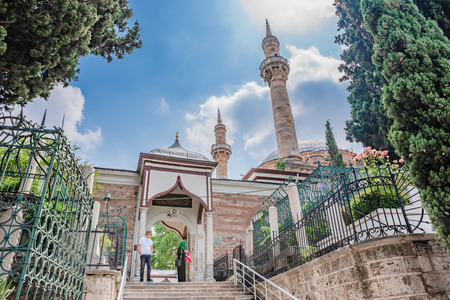 People visit Emir Sultan Complex or Sultan Complex,a mosque complex in Bursa,Turkey.20 May 2018 Editorial