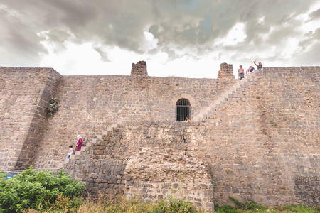 15 July 2018:- Unidentified people climb up  historical walls in sur region,Diyarbakir,Turkey.