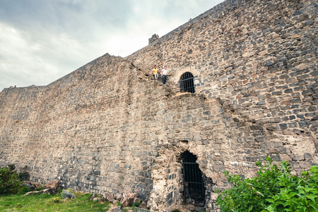 Exterior view of historical wall in sur region in central of Diyarbakir,Turkey Editöryel