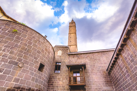 With blue sky,Exterior view of Hazreti Suleyman Mosque in Sur region,Diyarbakir,Turkey.15 July 2018