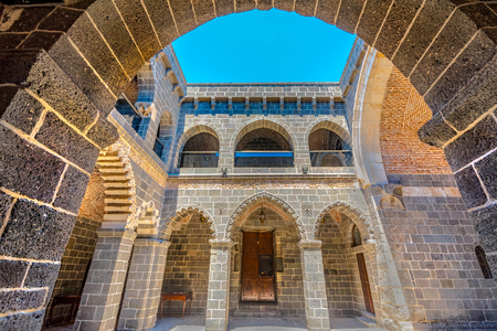 View of Mesudiye Medresesi or Madrasah in courtyard of Ulu Mosque,a popular landmark in Diyarbakir,Turkey.16 July 2018