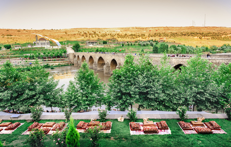 Landscape view of ancient stone ten eyed bridge,a popular landmark in central of Diyarbakir,Turkey.