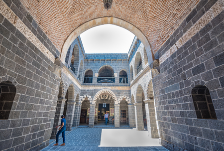 Courtyard of Mesudiye Medresesi or Madrasah in courtyard of Ulu Mosque,a popular landmark in Diyarbakir,Turkey.16 July 2018 Editöryel