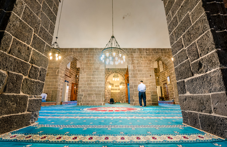 Interior view of Hazreti Suleyman Mosque in Sur region,Diyarbakir,Turkey.15 July 2018