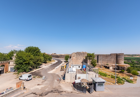 View of Keci Burcu(Goat Tower) and ancient walls of historical Diyarbakirs city walls in sur region in central of Diyarbakir,Turkey.16 July 2018 Editöryel