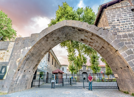 Turkey.15 July 2018 :- Unidentified man waits at gate of Diyarbakir Archaeological Museum in Sur region,Diyarbakir.