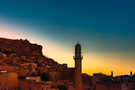 Sunrise landscape view of old Mardin city,a popular city for locals and tourist and located in southeastern of Turkey.