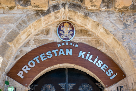 Exterior view of Mardin Protestant Church which locates in Mardin,Turkey.17 June 2018