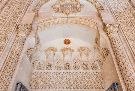 Detailed view of Abdullatif Mosque gate which was built during Artuklu period in Mardin,Turkey.17 June 2018