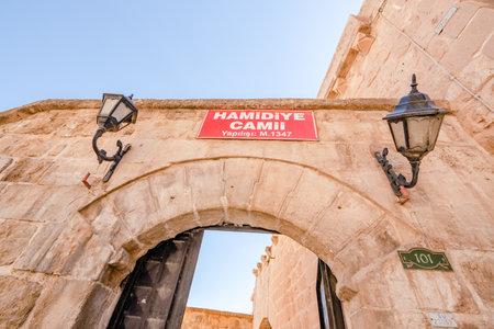Gate of Hamidiye Mosque(Seyh Zebuni)built in 1347 and locates in Mardin,Turkey.17 June 2018