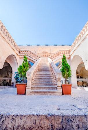 Stairs of Old Post Office Building (House of Sahtana Family),a popular landmark in Mardin,Turkey.17 June 2018
