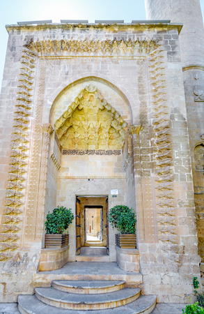 Stone gate of Melik Mahmut Mosque(Bab Es Sur)built in 1368 and locates in Mardin,Turkey.17 June 2018