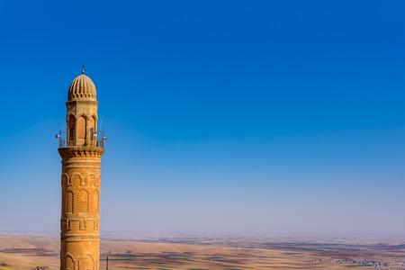 Minaret of Ulu (Grand) Mosque,a popular landmark in Mardin,Turkey.