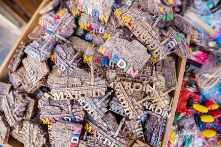 Many souvenirs representing popular Mardin houses and Mosque in Mardin,Turkey.18 June 2018 Editorial