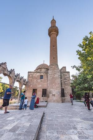 View of Rizvaniye mosque in Rizvaniye Madrasah near Balikli Gol(fish lake) in Sanliurfa city center.Sanliurfa,Turkey.18 July 2018