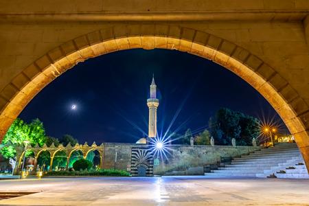 View of Rizvaniye mosque in Rizvaniye Madrasah near Balikli Gol(fish lake).Sanliurfa,Turkey. Stock Photo