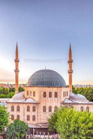View of Mevlidi Halil Mosque,one of landmarks in Sanliurfa,Turkey.18 July 2018