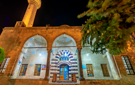 View of Rizvaniye mosque in Rizvaniye Madrasah near Balikli Gol(fish lake).Sanliurfa,Turkey.18 July 2018 Editorial