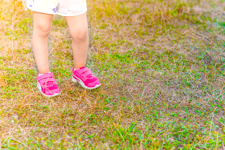 Legs of a little girl stands on green grass on soil ground in day time. Фото со стока