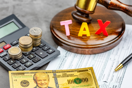 Front view of Bitcoin cryptocurrency in front of gavel with TAX word .Tax paying concept. Stockfoto