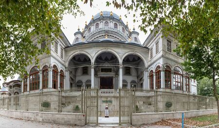 Panoramic view of Nusretiye Mosque which was built in 1823-1826 by Sultan Mahmut located in Tophane district of Beyoglu, Istanbul, Turkey.25 July 2019