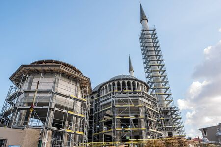 View of Taksim Mosque construction building which locate in Taksin square in beyoglu,Istanbul,Turkey Stok Fotoğraf
