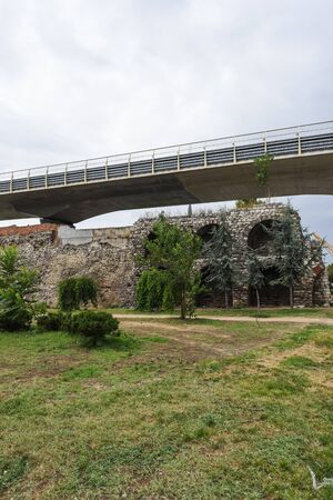 Ruins of ancient Galata Walls or Walls of Constantinople located in Istanbul,Turkey