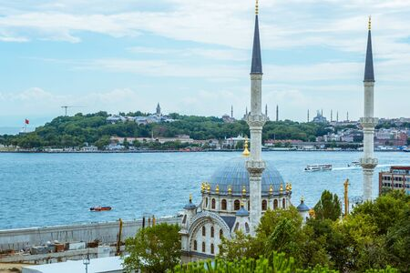 Summer landscape view of Istanbul city,Bosporus and Europe side in Istanbul,Turkey