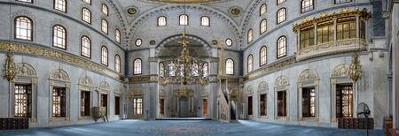 Panoramic interior view of Nusretiye Mosque which was built in 1823-1826 by Sultan Mahmut located in Tophane district of Beyoglu, Istanbul, Turkey.25 July 2019 Stok Fotoğraf