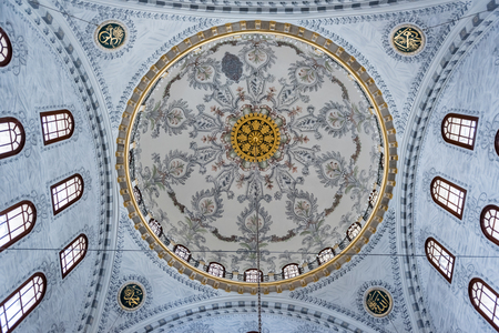 Interior view of Nusretiye Mosque which was built in 1823-1826 by Sultan Mahmut located in Tophane district of Beyoglu, Istanbul, Turkey.25 July 2019