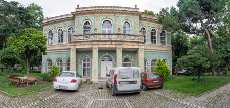 Panoramic exterior view of Tophane Pavilion which was built by Ottomon Empire Sultan Abdulmecid located in square of Tophane Beyoglu,Istanbul,Turkey.25 July 2019