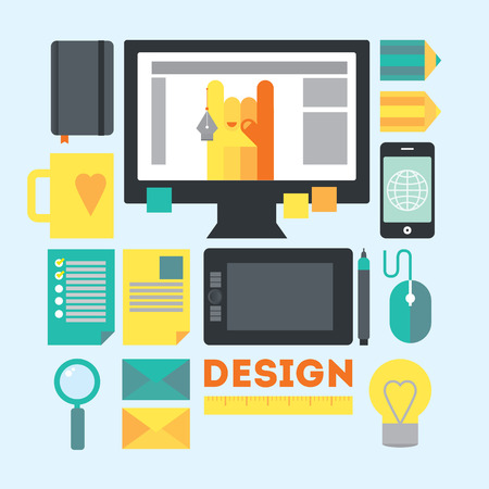 concepteur web: Travail de l'espace et des trucs de dessinateur. Milieu de travail moderne de concepteur de sites Web en cours ou processus de d�veloppement cr�atif. Illustration moderne dans un style plat.